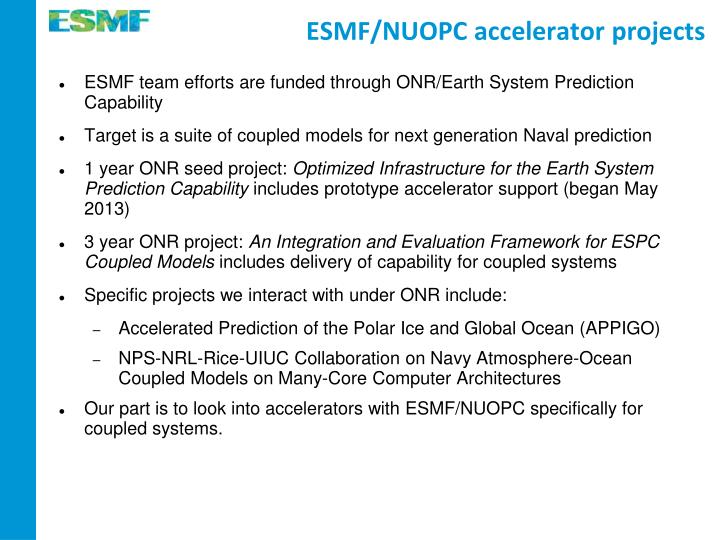 ESMF/NUOPC accelerator projects