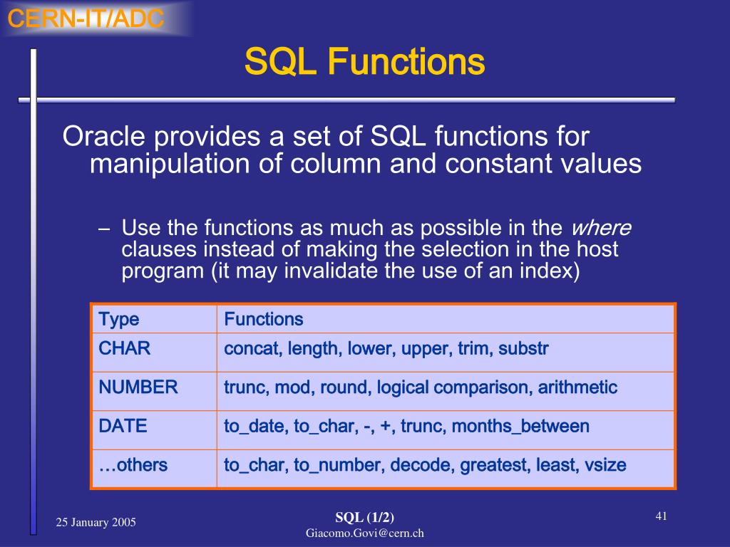 PPT - Oracle Tutorials SQL Structured Query Language (1/2