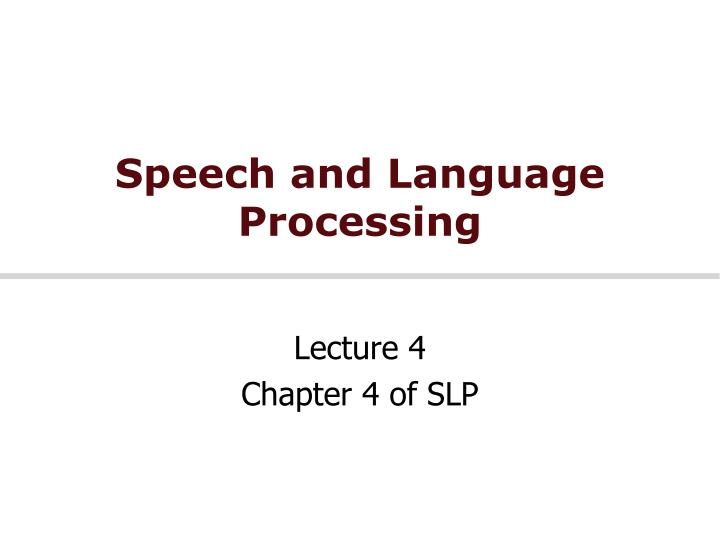 speech and language processing n.