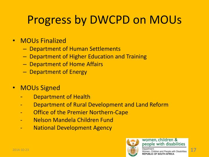 Progress by DWCPD on MOUs