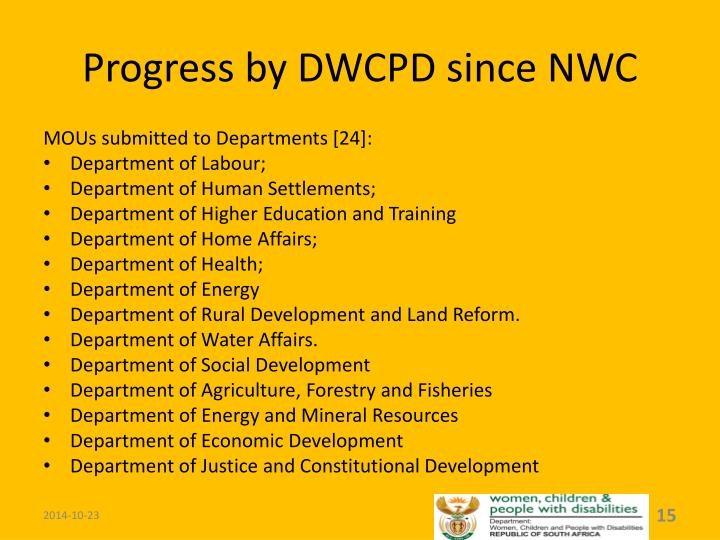 Progress by DWCPD since NWC