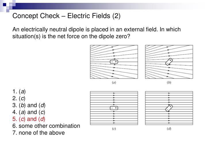 Concept Check – Electric Fields (2)