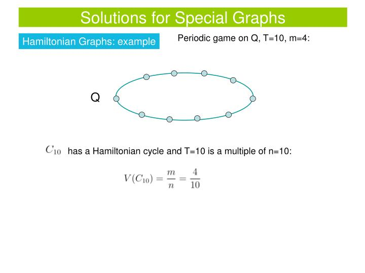 Solutions for Special Graphs