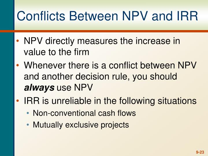Conflicts Between NPV and IRR