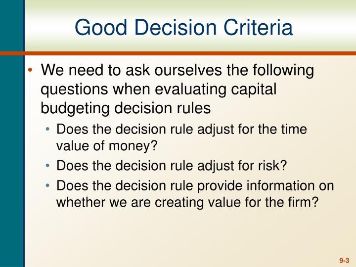Good Decision Criteria