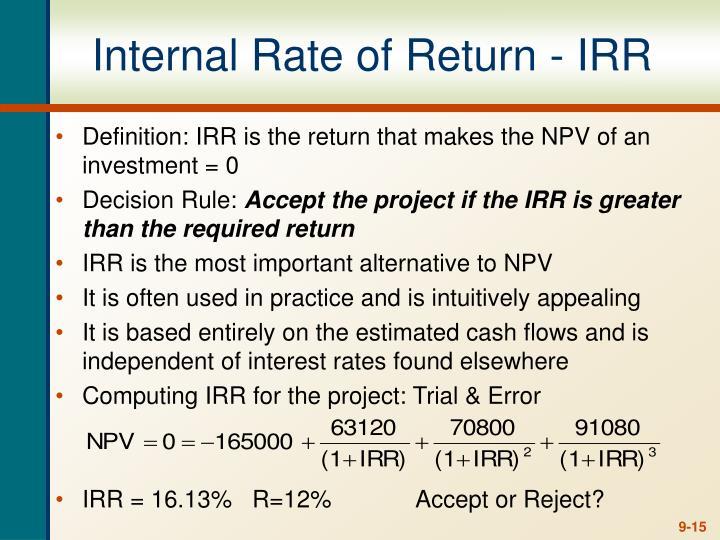 Internal Rate of Return - IRR