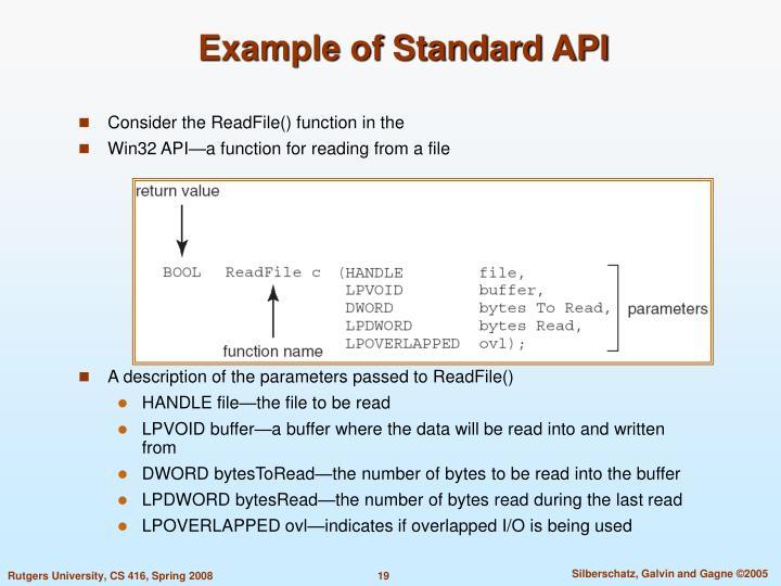 Example of Standard API