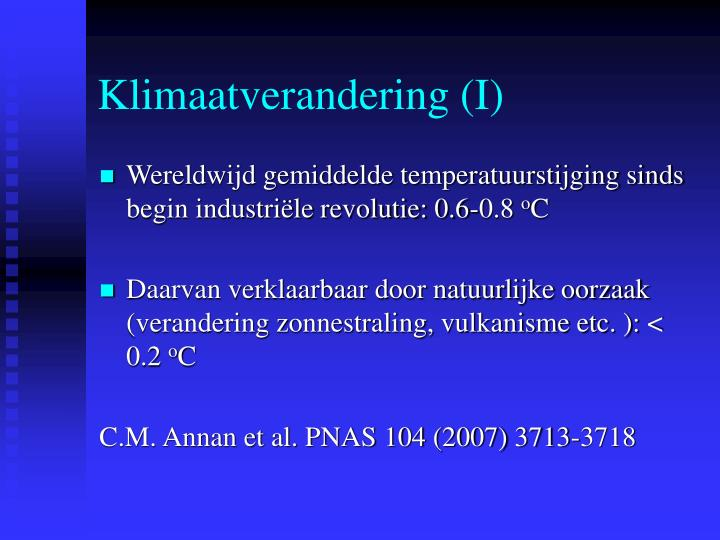 Klimaatverandering (I)