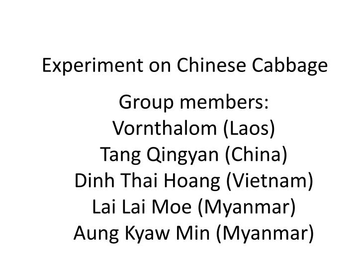 experiment on chinese cabbage n.