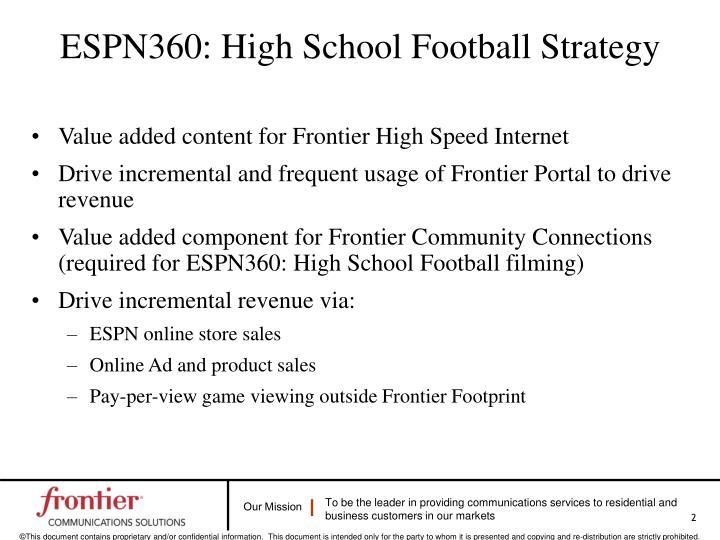 Espn360 high school football strategy