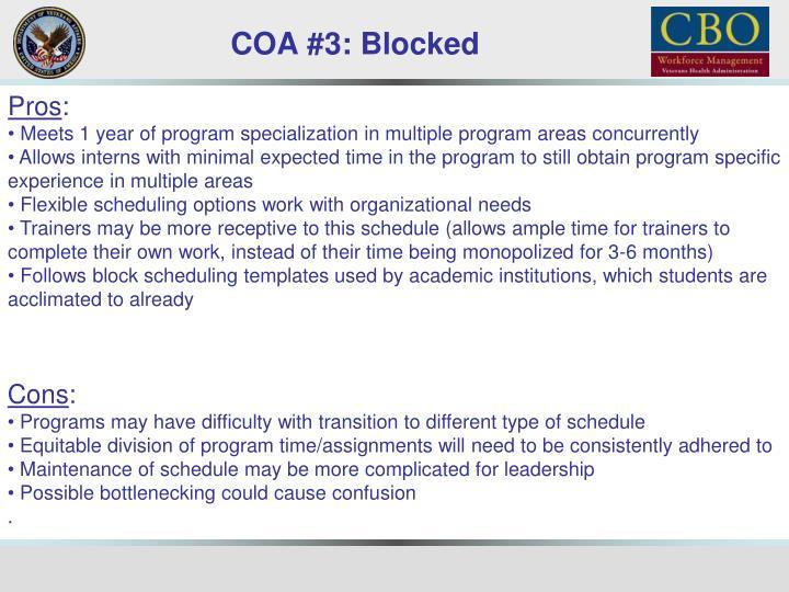 COA #3: Blocked