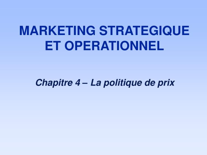 marketing strategique et operationnel n.
