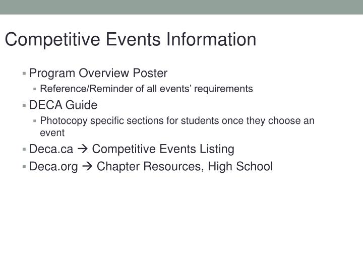 Competitive Events Information