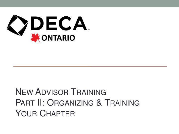 New Advisor Training