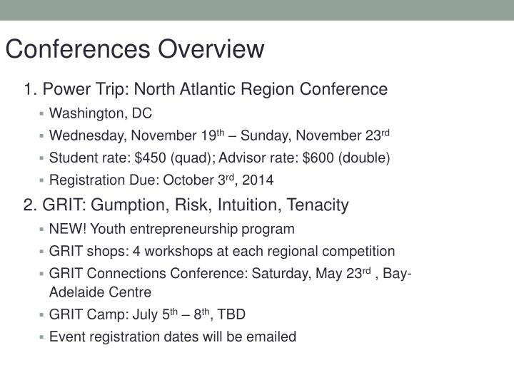 Conferences Overview