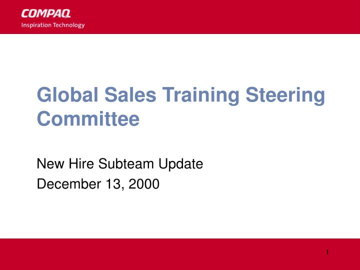 global sales training steering committee n.