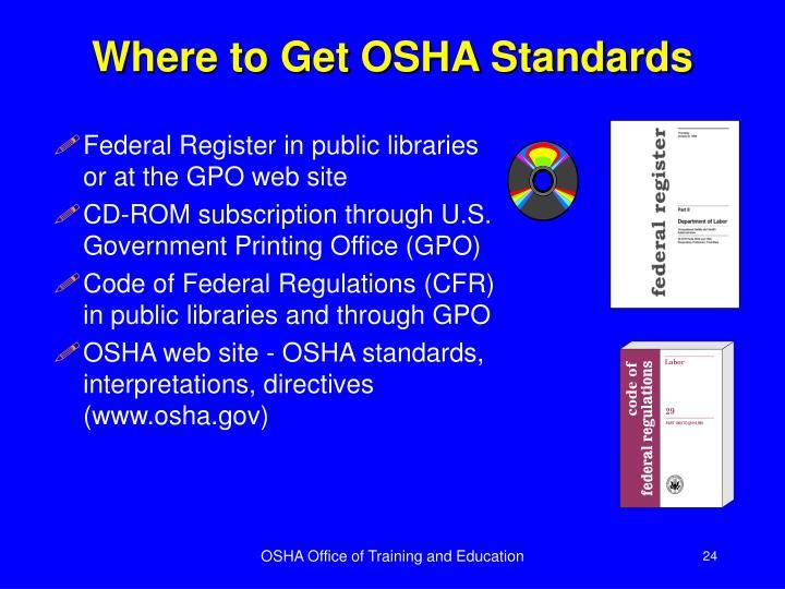 Where to Get OSHA Standards
