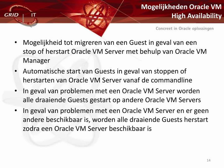 Mogelijkheden Oracle VM