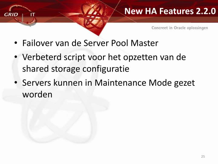 New HA Features 2.2.0