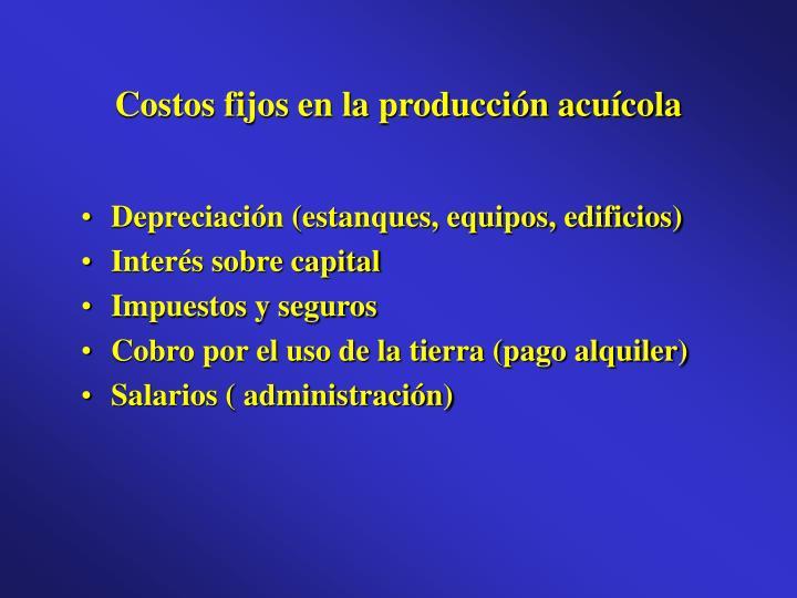 Costos fijos en la producción acuícola