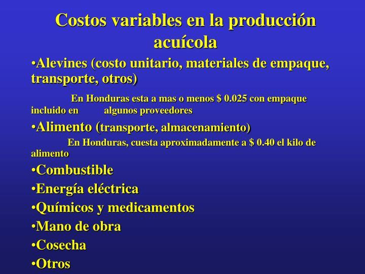 Costos variables en la producción acuícola