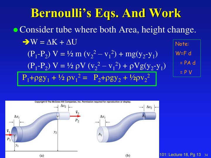 Bernoulli's Eqs. And Work