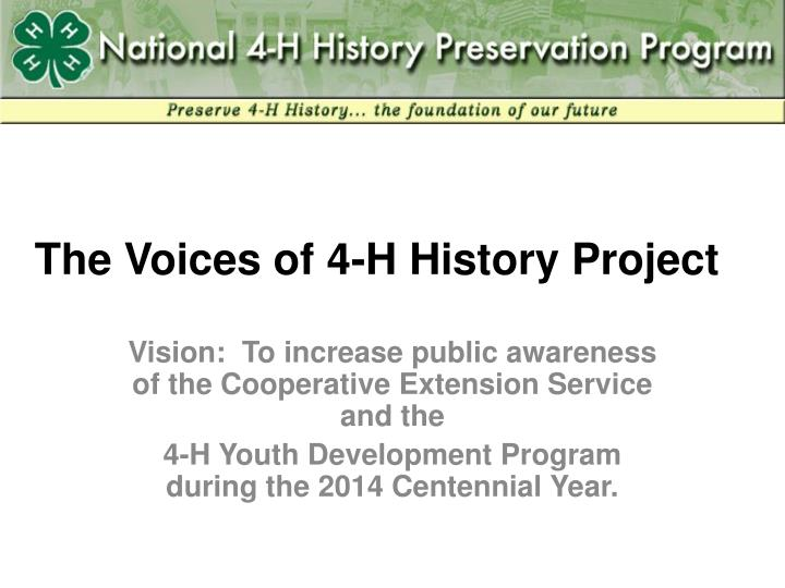 the voices of 4 h history project n.