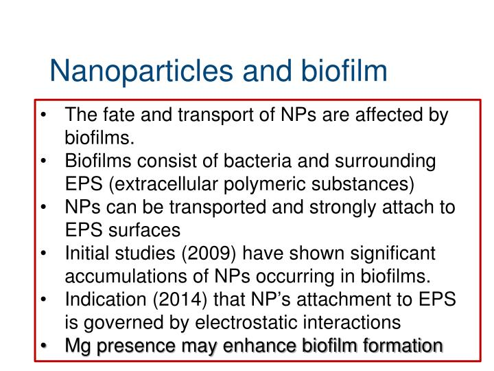 Nanoparticles and biofilm