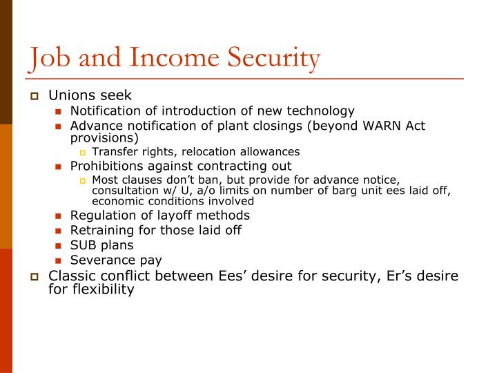 Job and Income Security