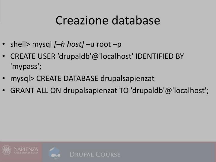 Creazione database