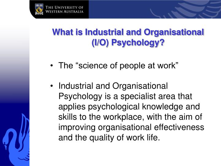 industrial and organizational psychology paper i o Industrial/organizational psychology paper 2 industrial/organizational psychology paper the field of industrial and organizational (i/o) psychology has been studied since the infancy of psychology itself (spector, 2008.