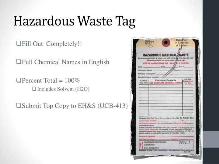 Hazardous Waste Tag
