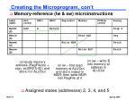 creating the microprogram con t1