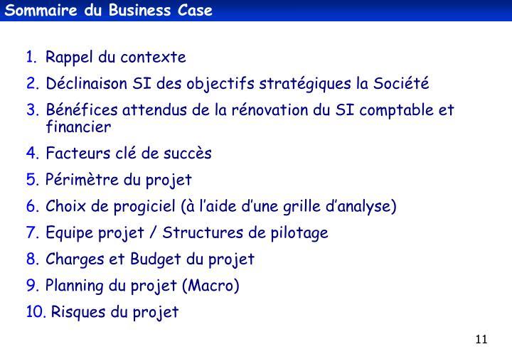 Sommaire du Business Case