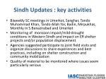 sindh updates key activities