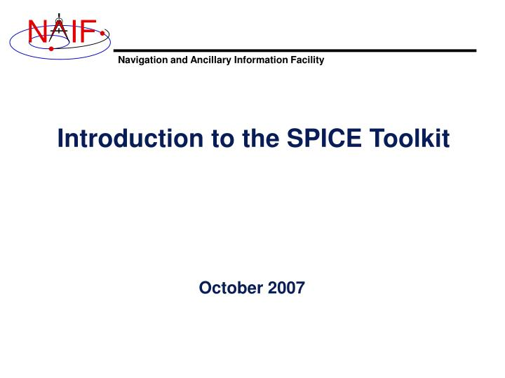 introduction to the spice toolkit n.