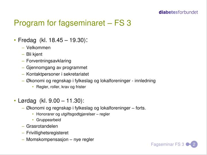 Program for fagseminaret fs 3