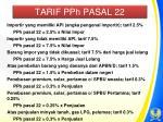 tarif pph pasal 22