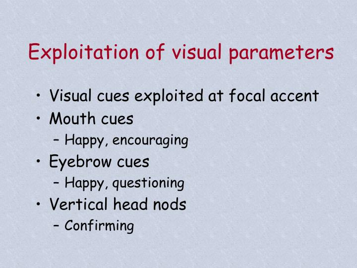 Exploitation of visual parameters