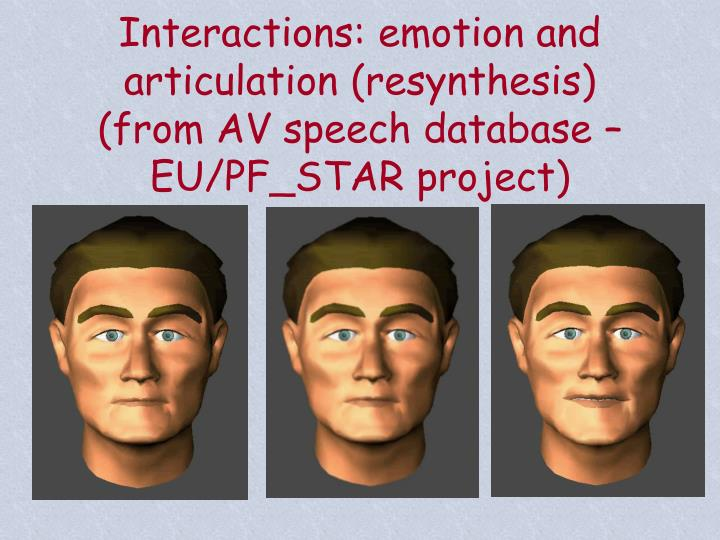 Interactions: emotion and articulation (resynthesis)