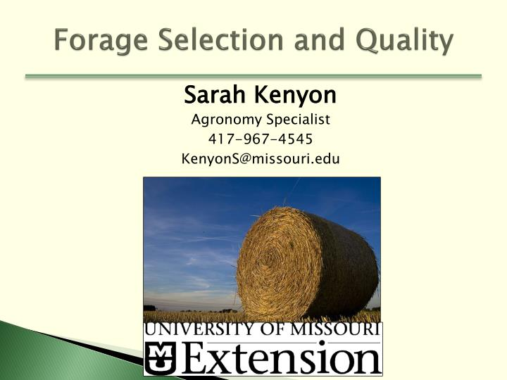 forage selection and quality n.