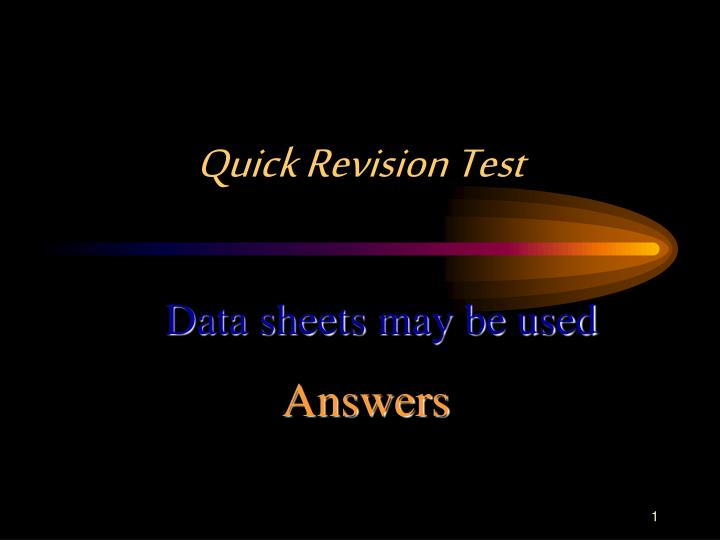 quick revision test n.