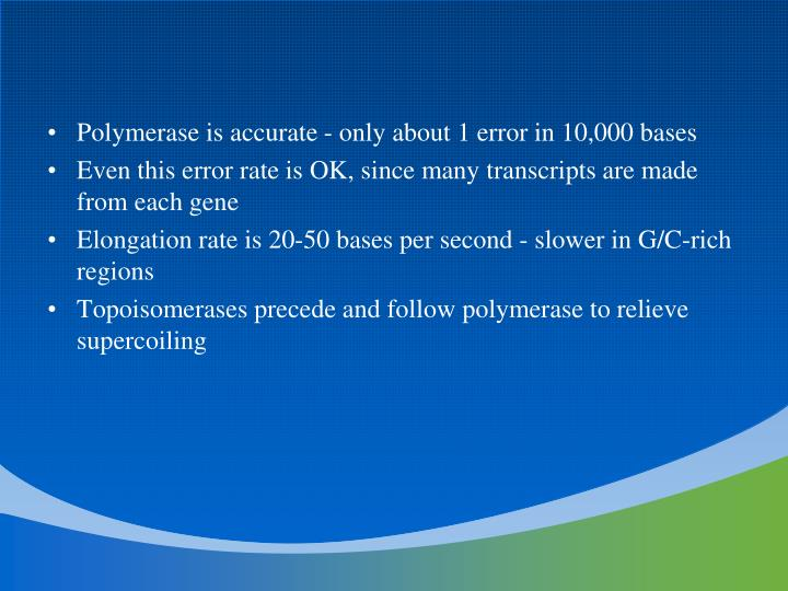 Polymerase is accurate - only about 1 error in 10,000 bases