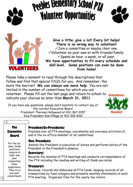 PPT - Peebles Elementary School PTA Volunteer Opportunities
