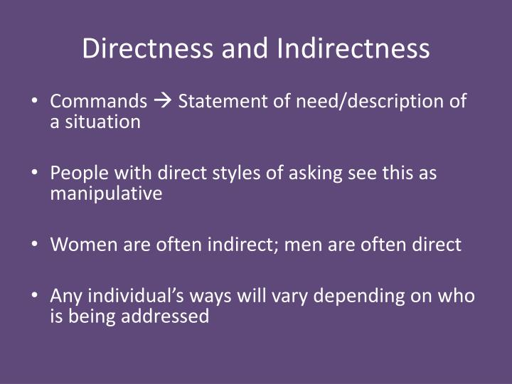Directness and Indirectness
