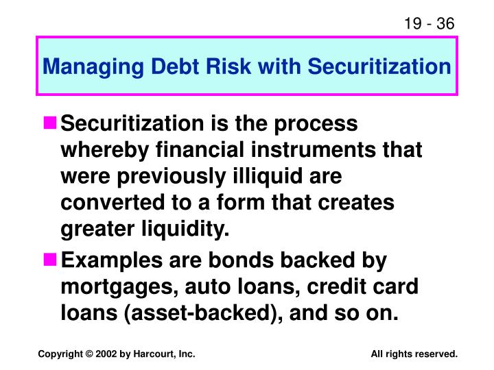Managing Debt Risk with Securitization