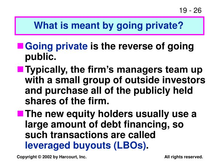 What is meant by going private?