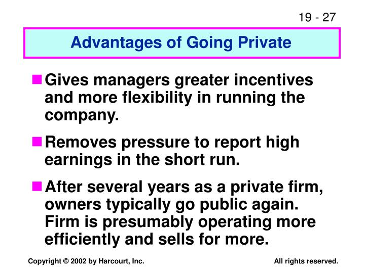 Advantages of Going Private