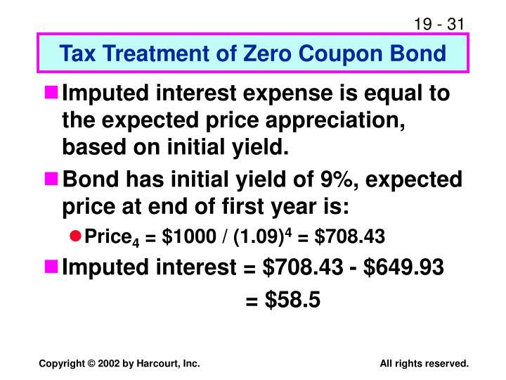 Tax Treatment of Zero Coupon Bond