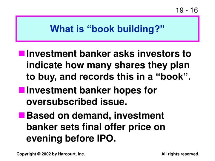 """What is """"book building?"""""""